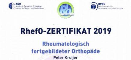 Dr. Kruijer als rheumatologisch fortgebilderter Orthopäde zertifiziert
